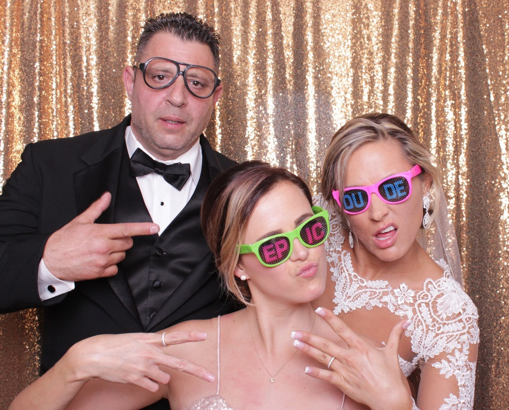 Wedding Photo Booth with Happy couple and maid of honor image